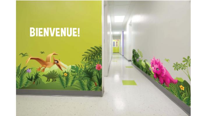 murale corridor dinosaure
